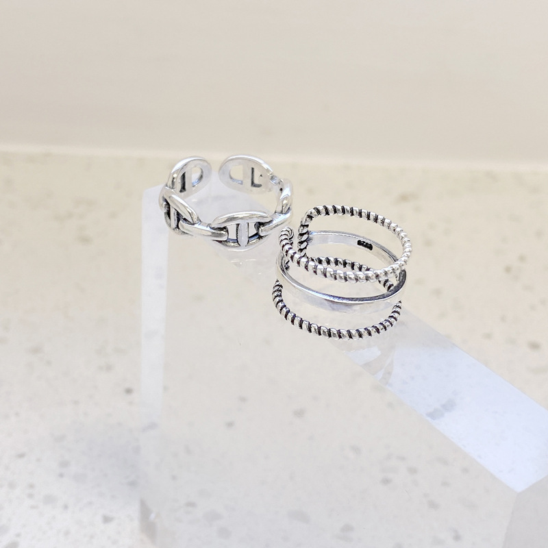 Twisted and Classic Triple Layer Open Ring