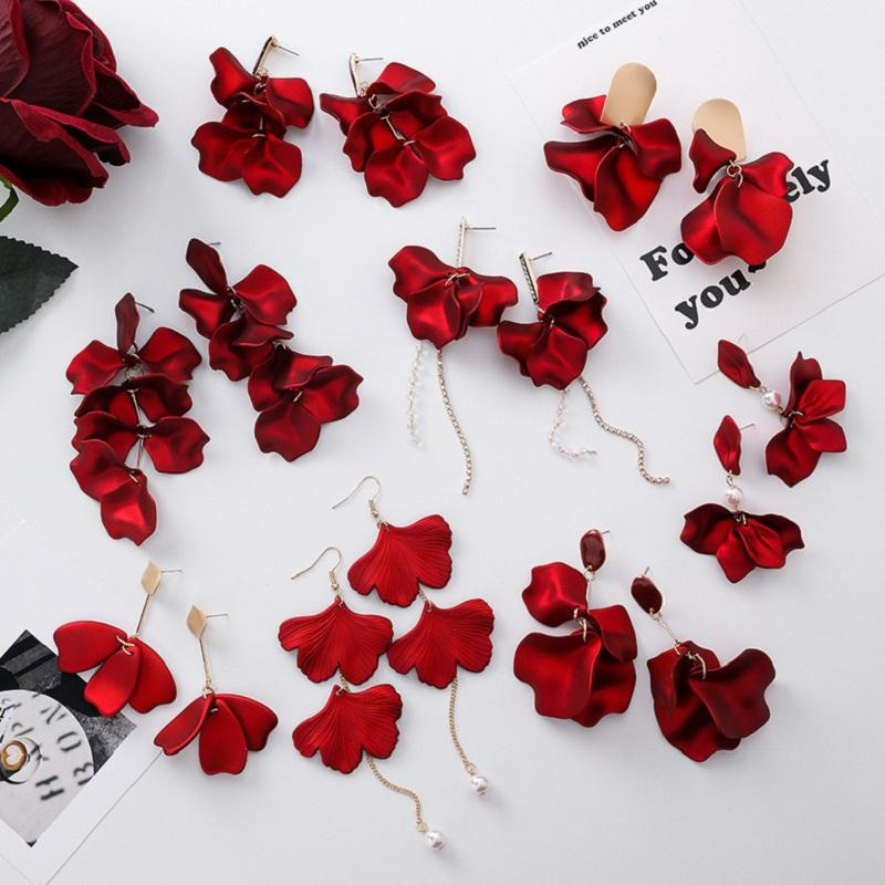 Red Petals Acrylic Earring Collection (Sold Separately)