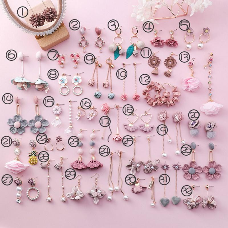 Blush Pink Flowers Alloy Earring Collection (Sold Separately)