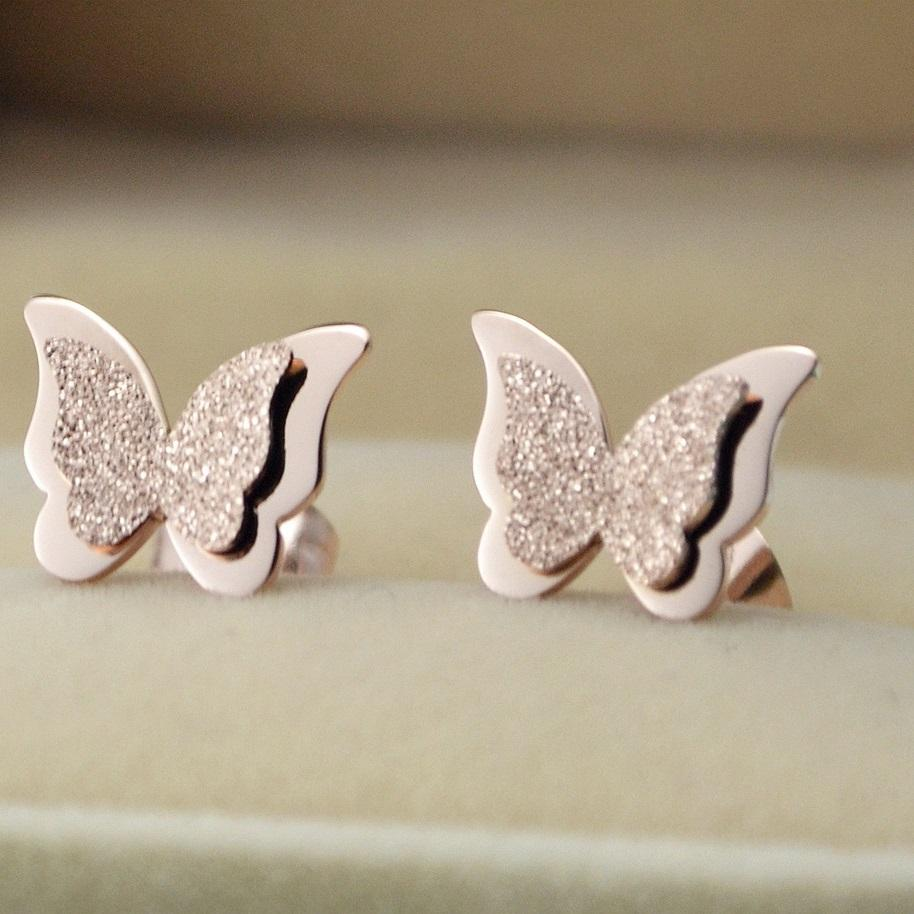 Frosted and Classic Butterfly Stud Earrings
