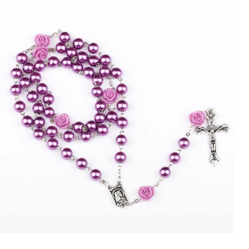 Pearl and Rose Rosary Necklace