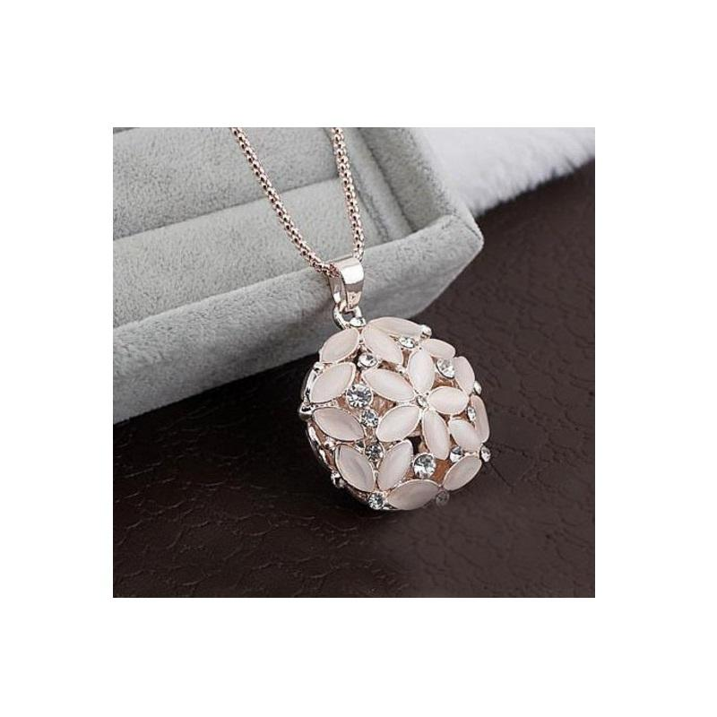 Pink Flower Ball Pendant Necklace