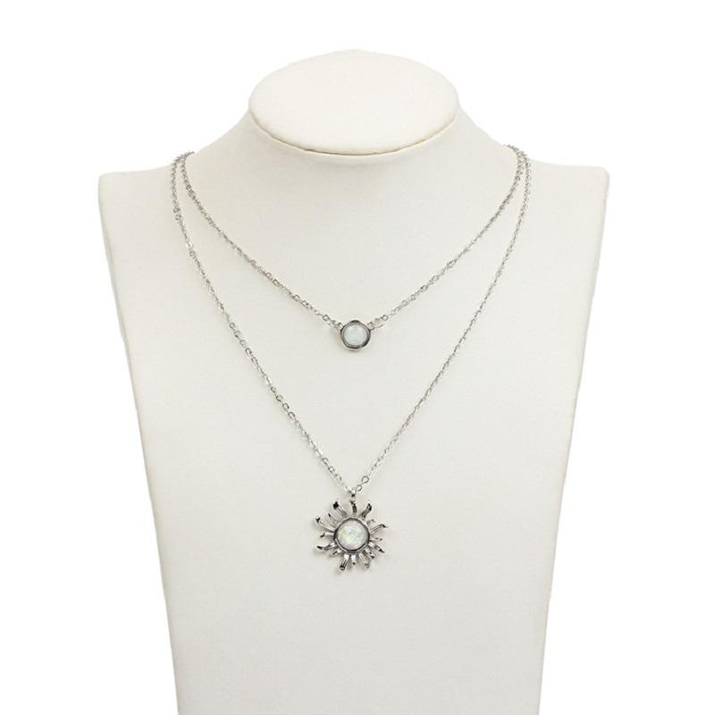 Sunflower and Circle Opal Double Necklace