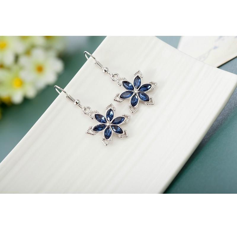 Sapphire Flower Dangle Earrings