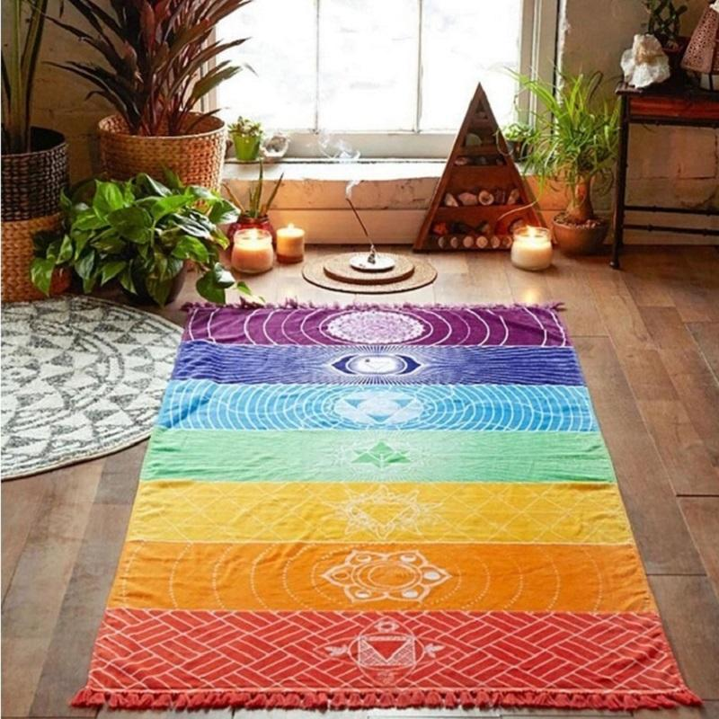 Vibrant Rainbow Printed Tapestry for Vacation Houses
