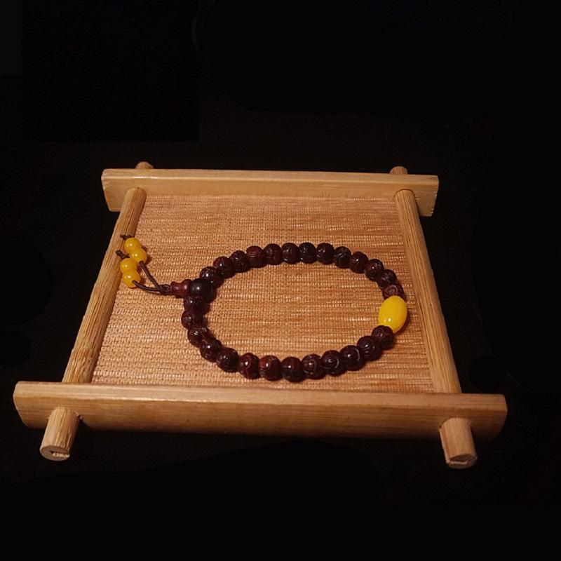 Red Rosewood Lotus Bead Bracelet