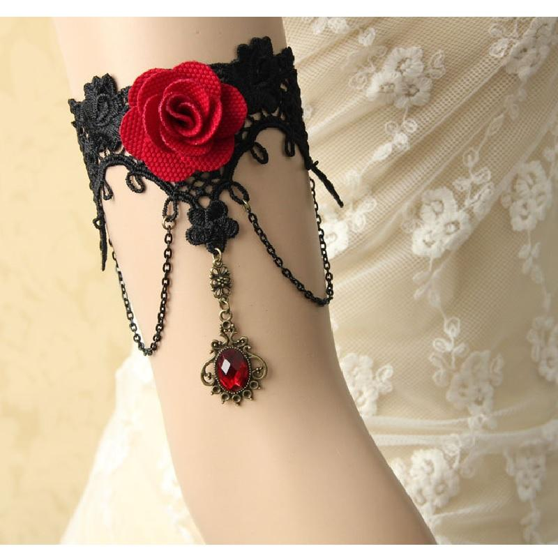 Red Rose Gothic Lace Arm Ring