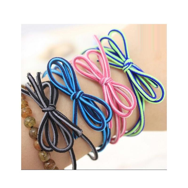 Two Color Bow Double Hair Tie