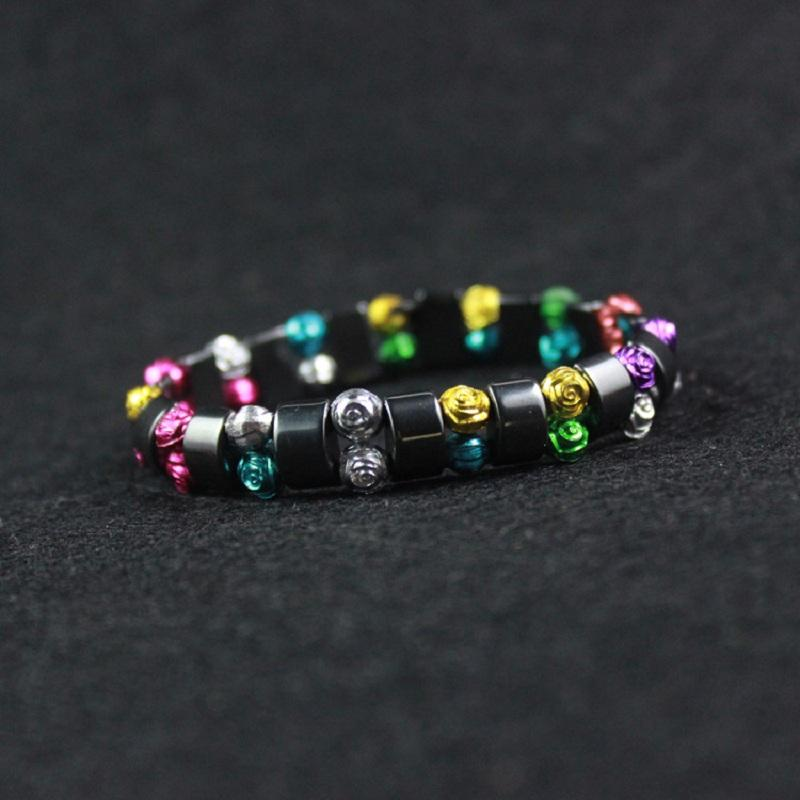 Rose Beads on Black Magnet Bracelet