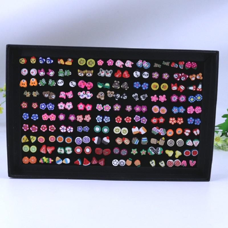 Mixed Designs Stud Earrings (100 Pairs/Set)