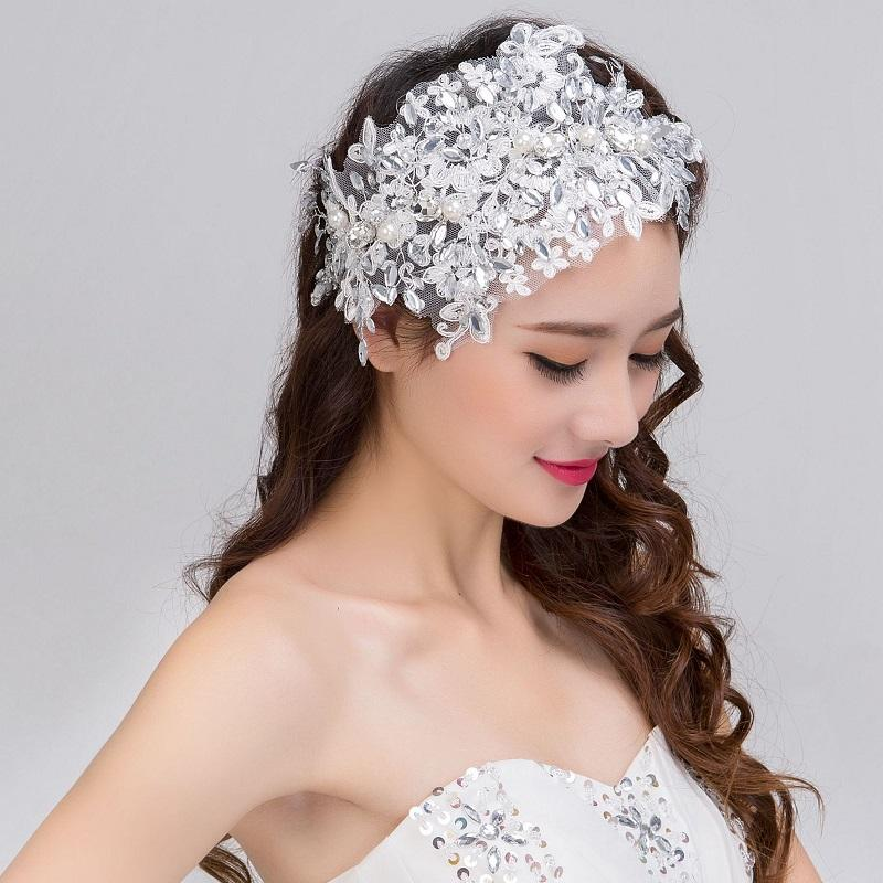 Floral Lace Rhinestone and Pearls Bridal Headdress