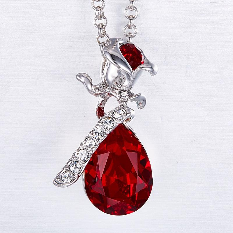 Rose and Water Drop Crystal Necklace
