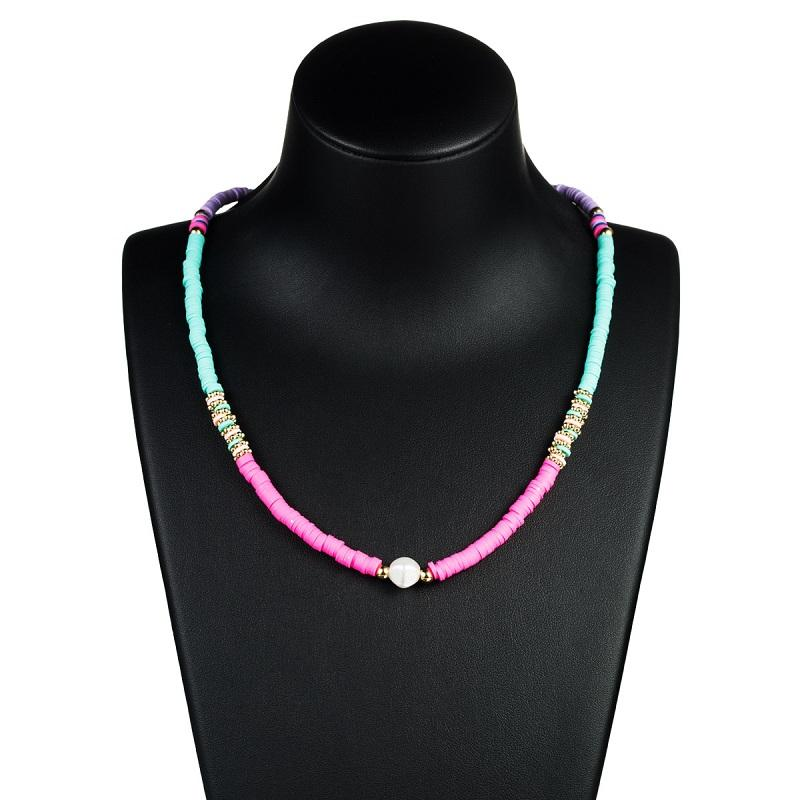 Artificial Pearl Pendant Soft Clay Necklace