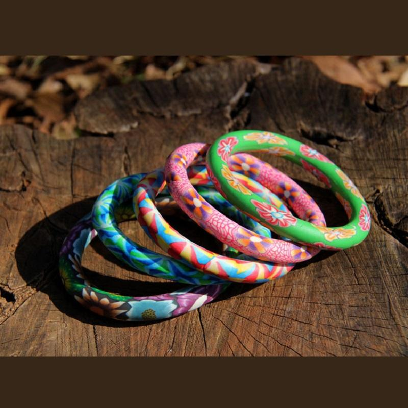 Floral Soft Clay Bangle