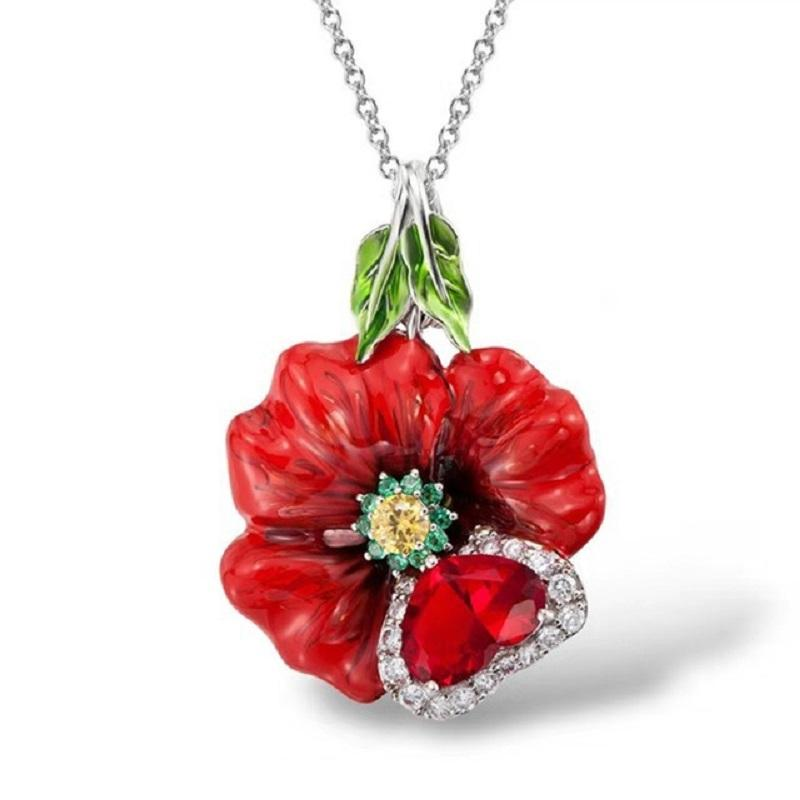 Red Hibiscus Necklace