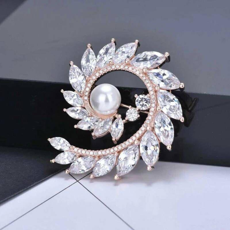 Flashy Zircons Loop Brooch