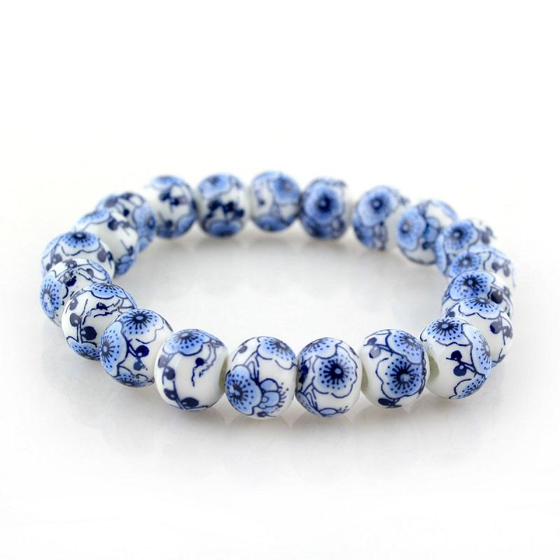 Porcelain Blue and White Floral Bead Bracelet