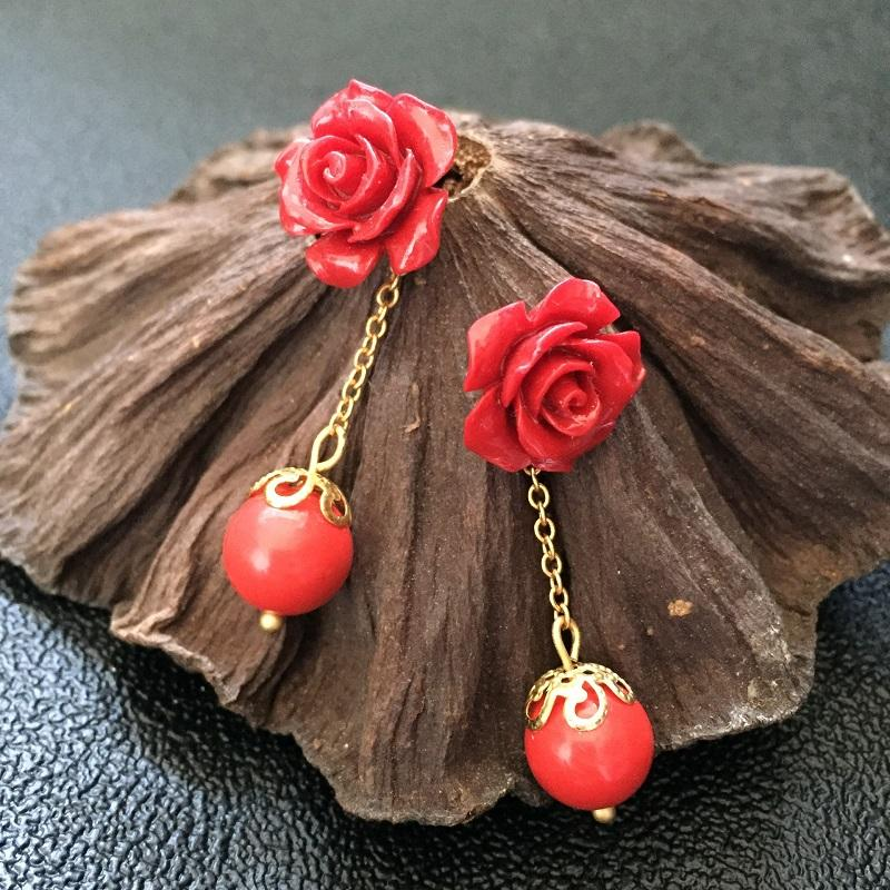 Red Rose and Bead Drop Earrings