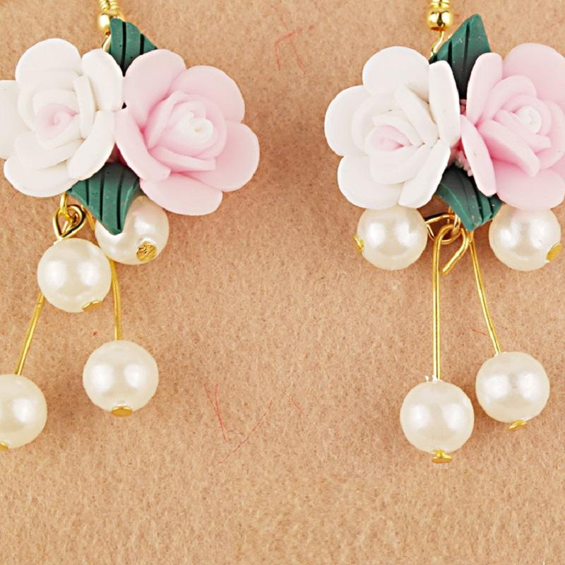 Pink and White Roses Bridal Earrings