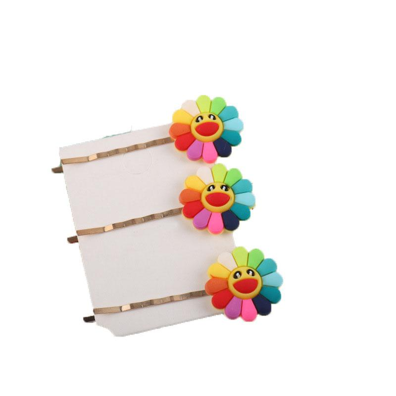 Rainbow Sunflower Wavy Hairpin