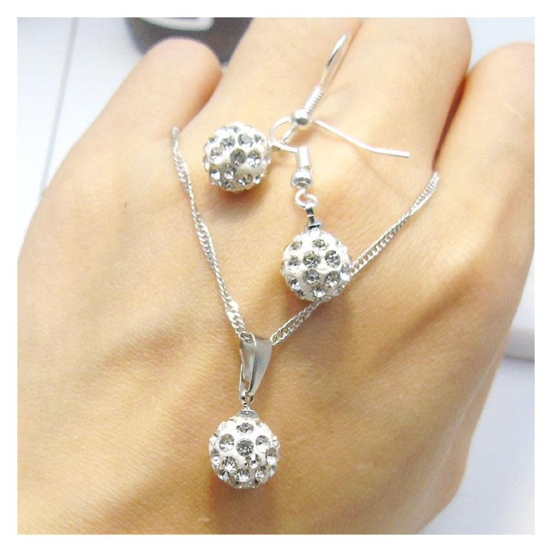 Classic Crystal Ball Necklace and Hook Earrings Set