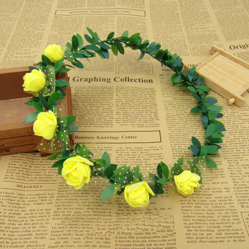 Colored Roses Hair Wreath