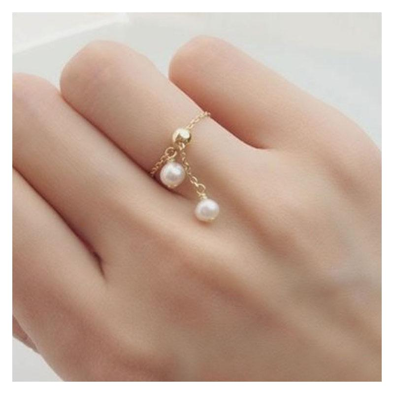 Double Pearl Chain Ring
