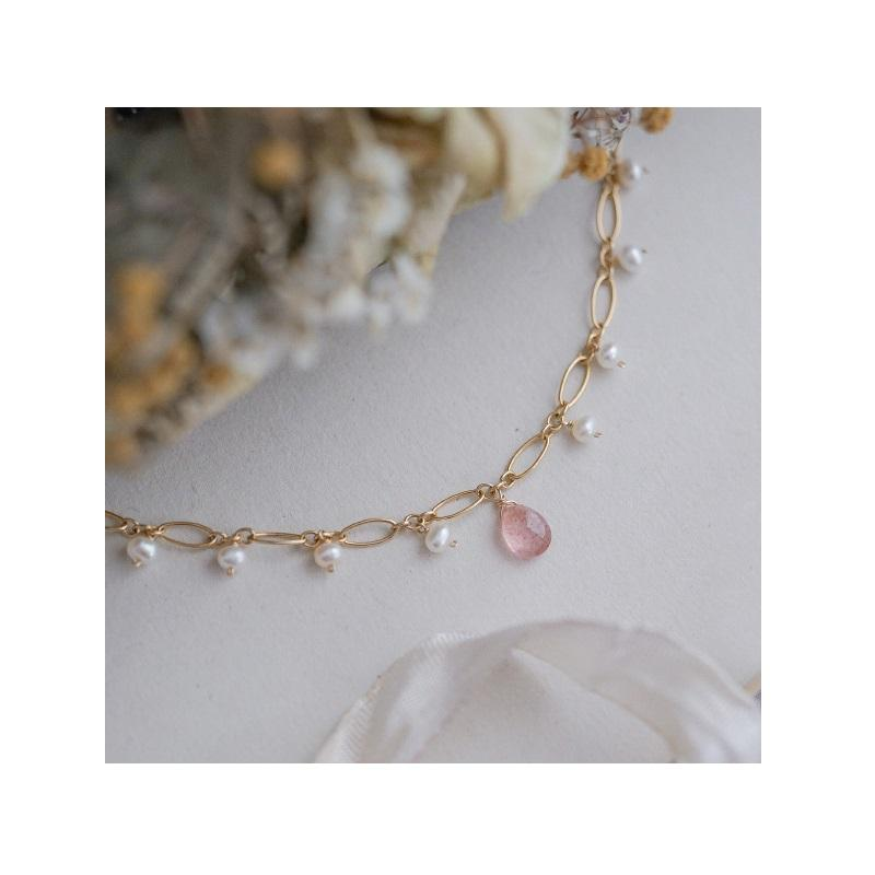 Pink Crystals and Pearl Bracelet