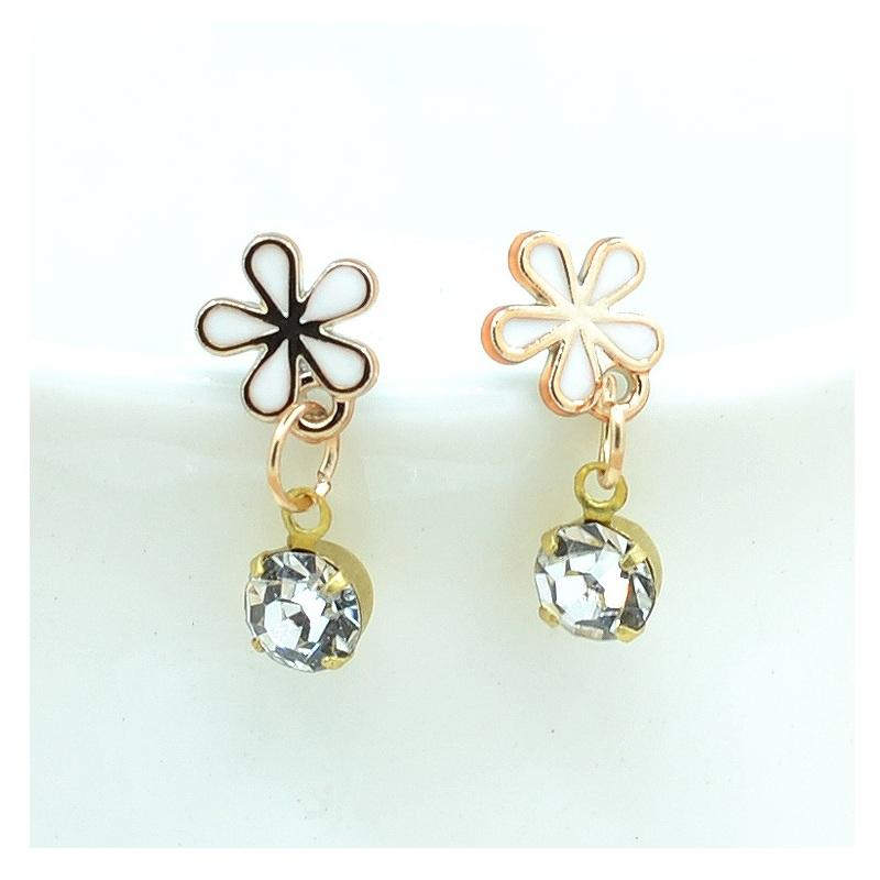 Black and White Flower with Crystal Earrings (6 Pairs/Set)