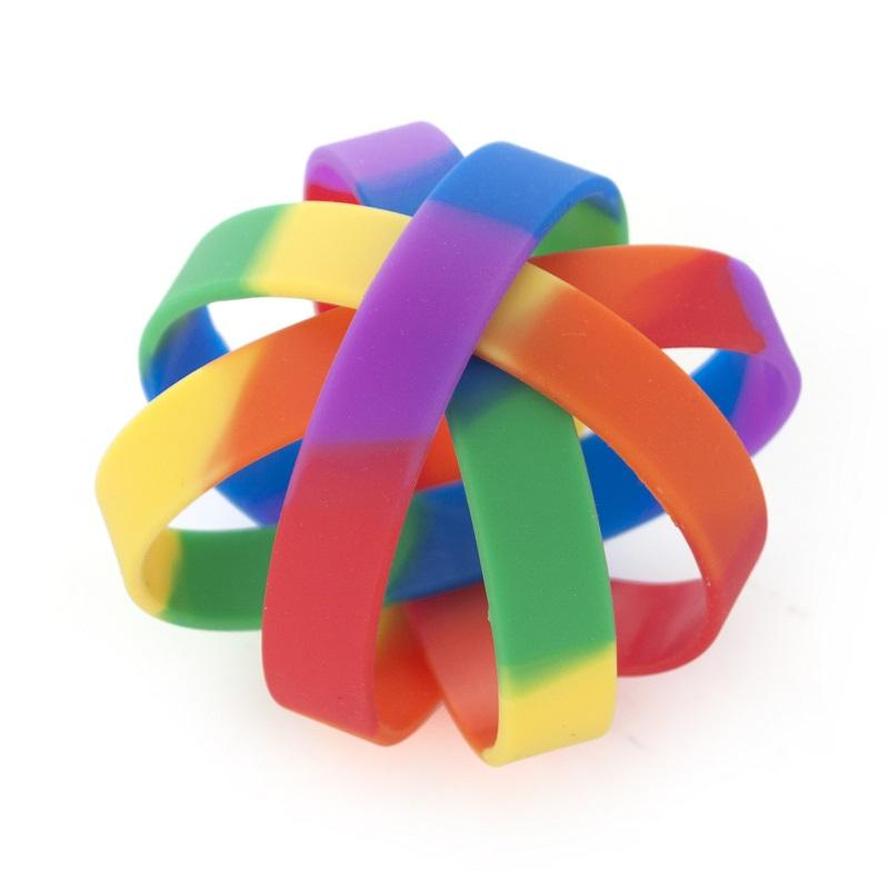 Mixed Rainbow Colored Silicone Bracelet
