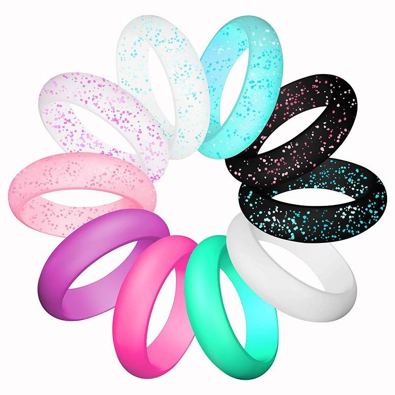 Classic and Glittery Silicone Ring (10 Pieces/Set)