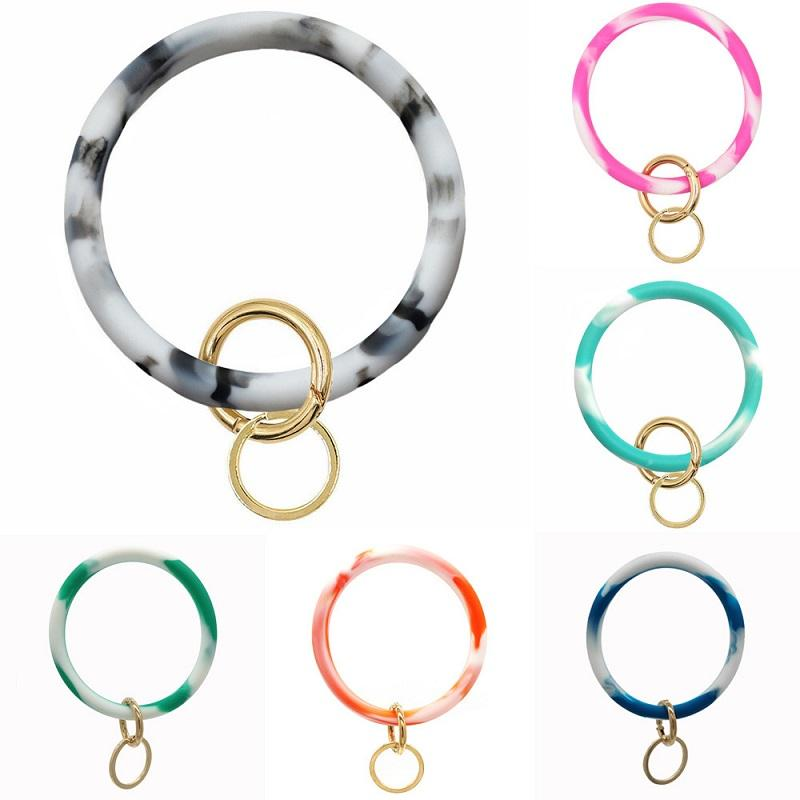 Marble Like Silicone Bracelet Key Ring
