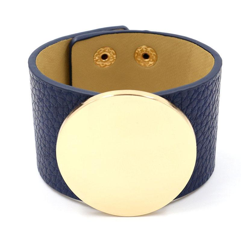 Glossy Circle on Faux Leather Bracelet