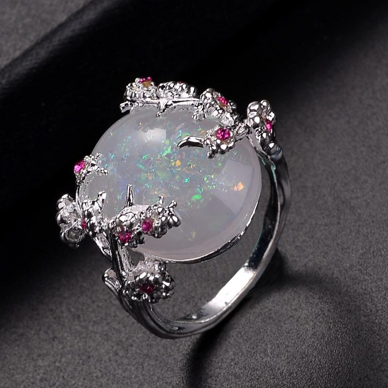 Floral White Crystal Ring