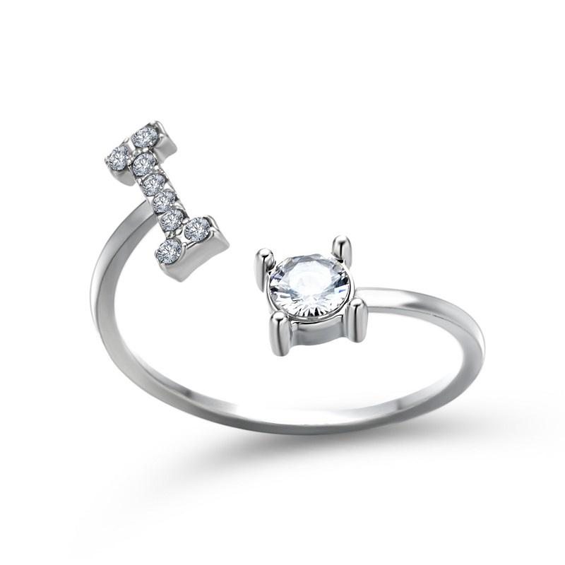 Initial Letter and Round Crystal Open Ring