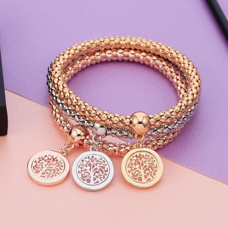 Tree of Life in Shallow Circle Layered Bracelet