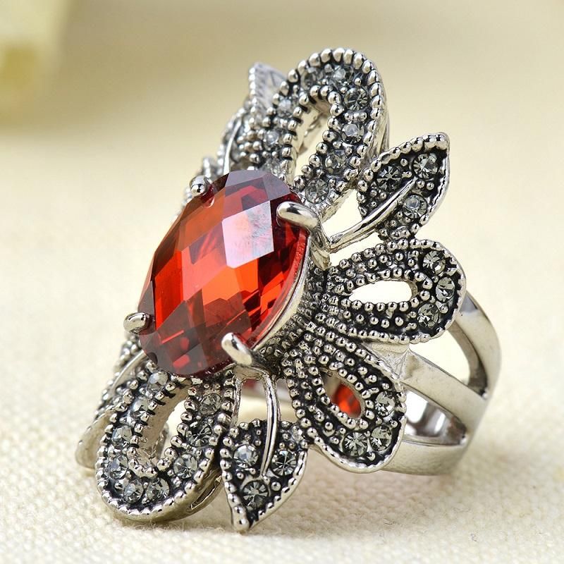 Vintage Red Sunflower Ring