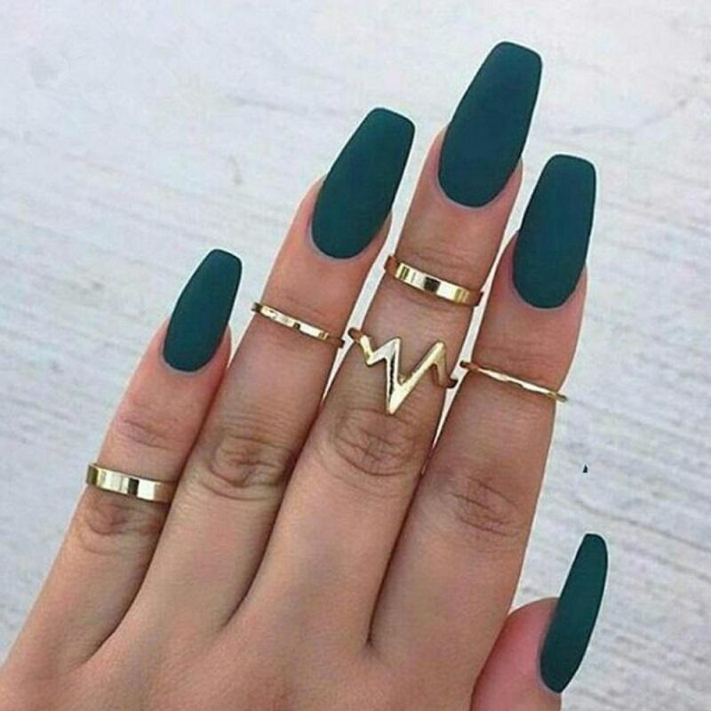 Heartbeat Smooth Ring (5 Pieces/Set)
