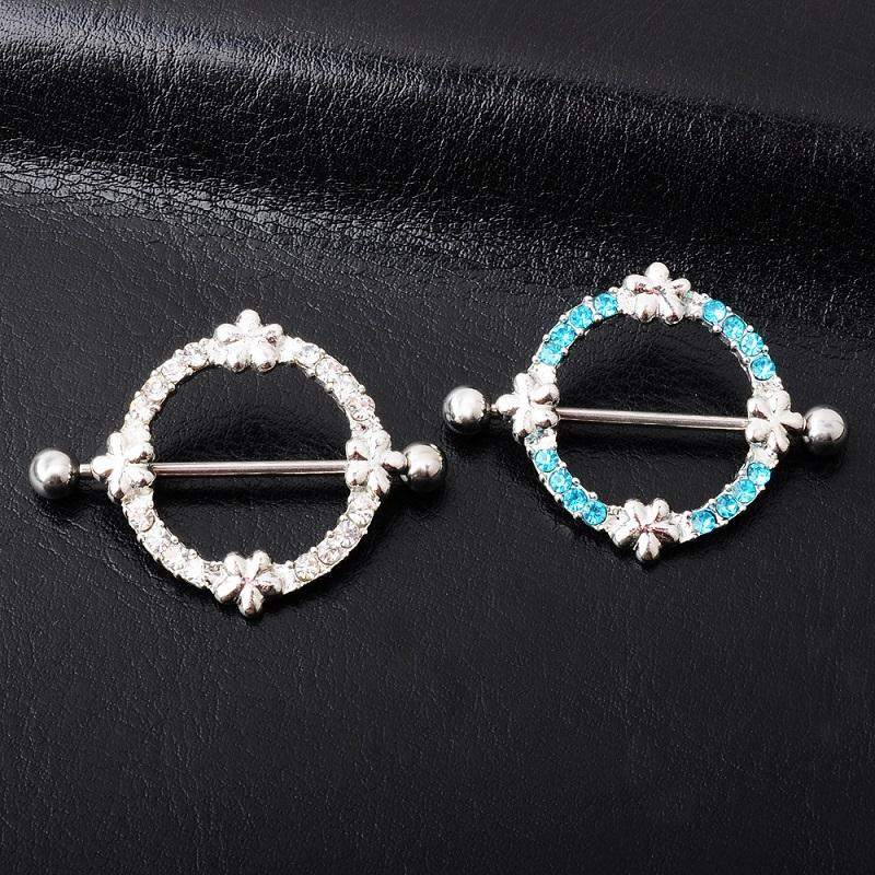 Intricate Circle with Silver Flower Nipple Shield Jewelry for Nipple Piercings