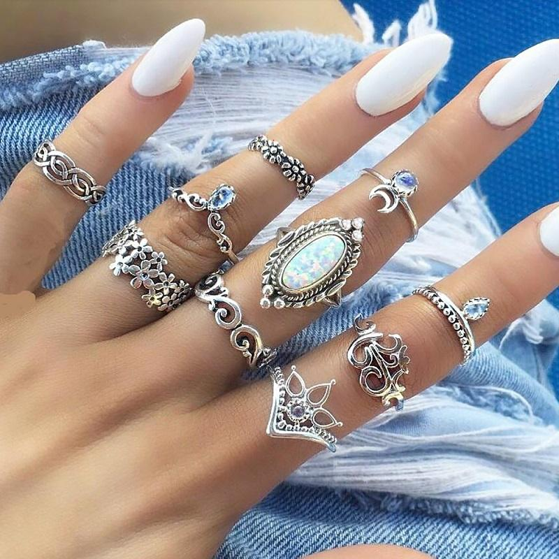 Oval Opal Vintage Ring (10 Pieces/Set)