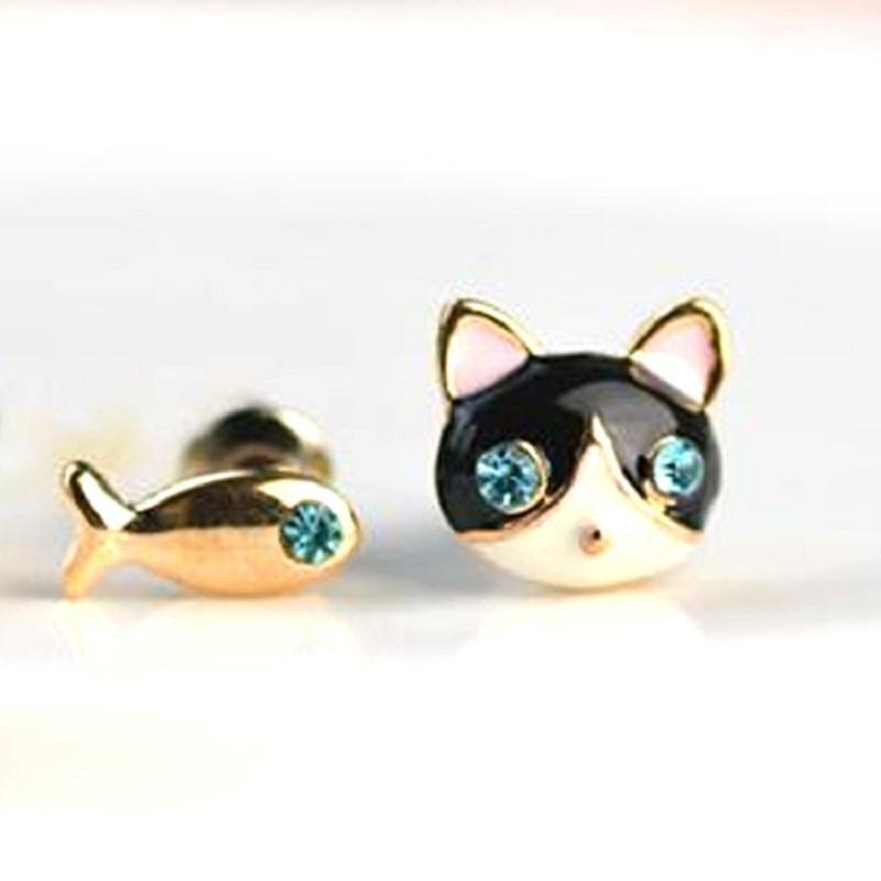 Cat and Fish Mismatch Earrings