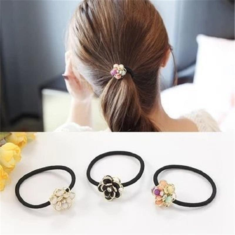 Black/Colored Layered Flower Hair Tie