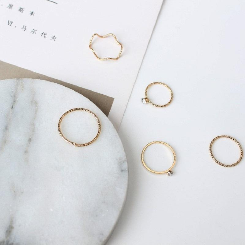 Simple Wave Ring (5 Pieces/Set)