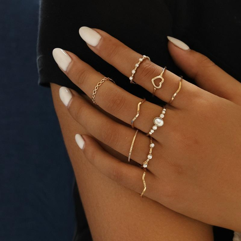Simple Rings (9 Pieces/Set)