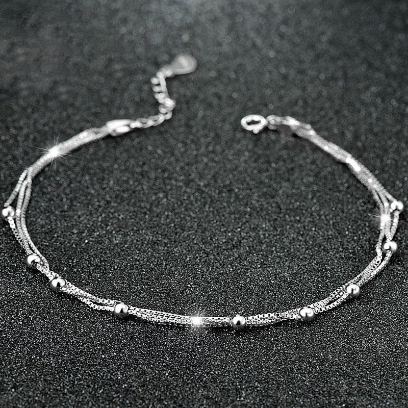 Silver Beads Box Chain Multilayered Anklet