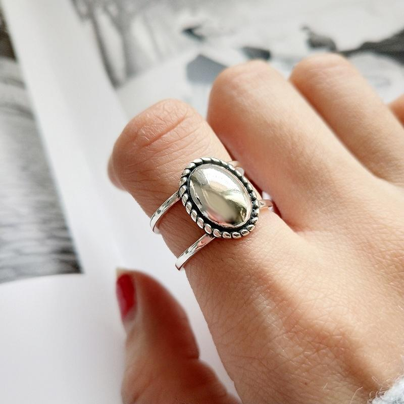 Retro Oval Double Layer Ring