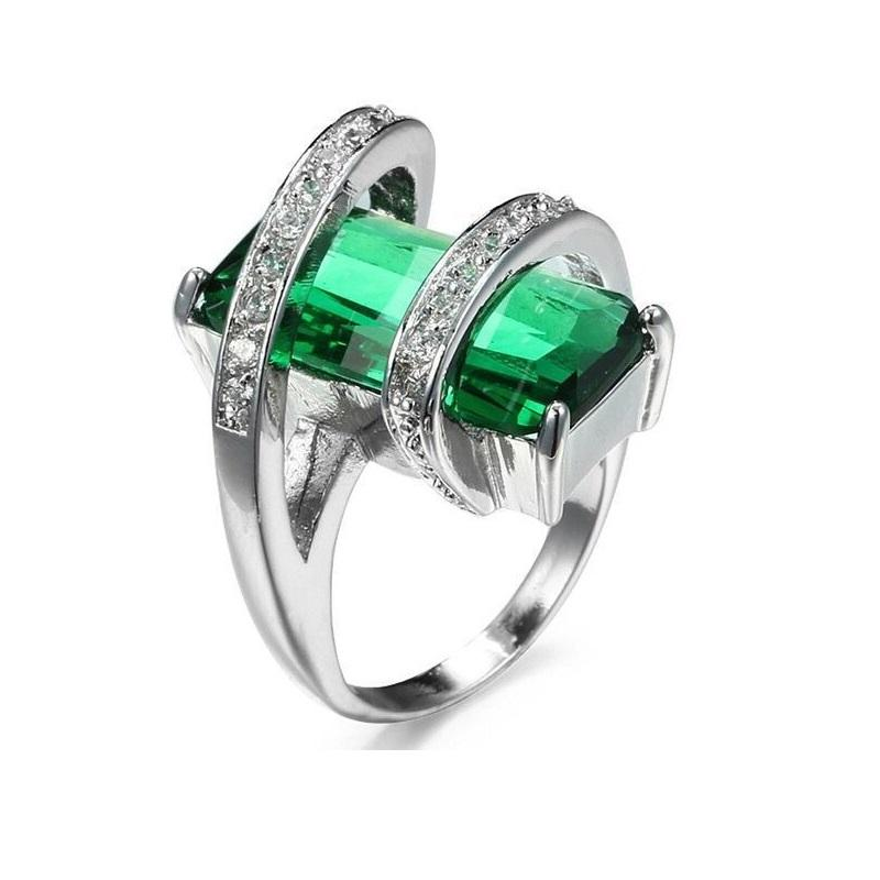 Green Crystal with Vine Around Ring