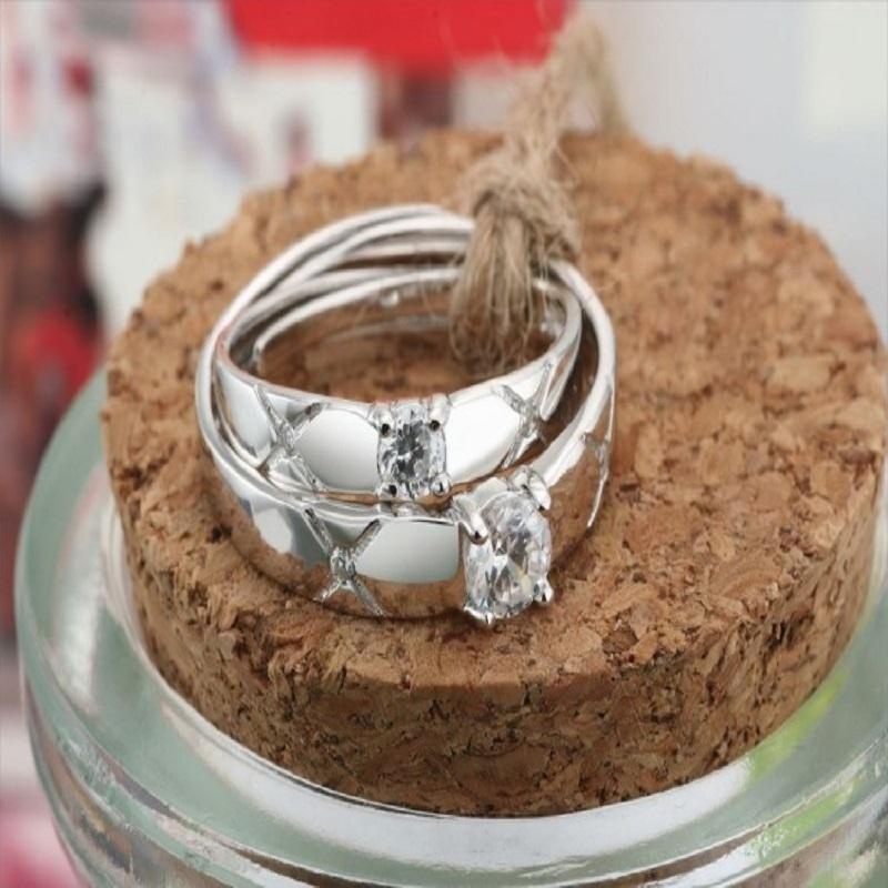 X Marks Silver Crystal Ring
