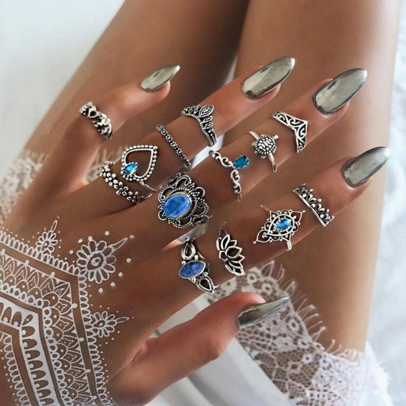 Blue Crystal Vintage Ring (13 Pieces/Set)