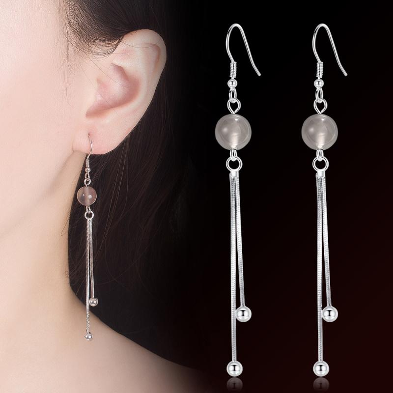 Crystal and Silver Balls Drop Earrings